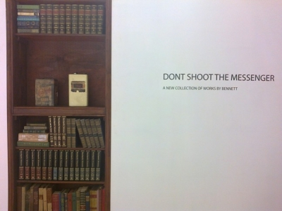Exhibition title with bespoke bookcase