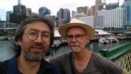 Dr Guan & me on Pyrmont Bridge