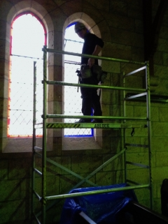 Pete Whittaker onboard the internal scaffolding