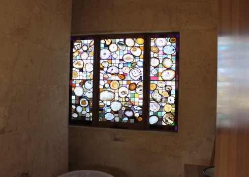 Interior view of the agate window showing the bathroom