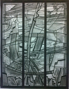 Charcoal cartoon for the window