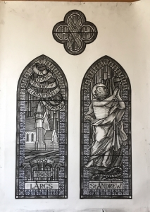 Charcoal cartoon for St Andrew window