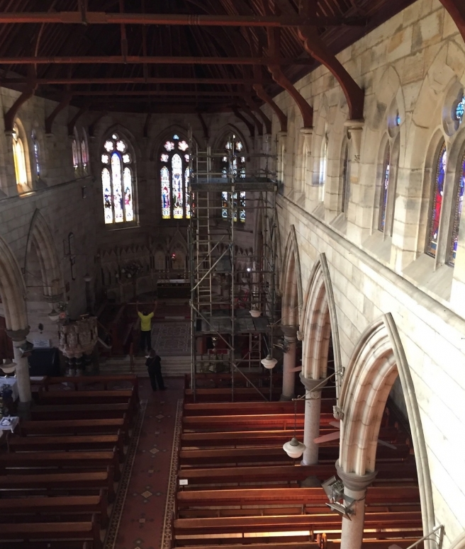 View from the scaffold showing 2nd scaffold tower