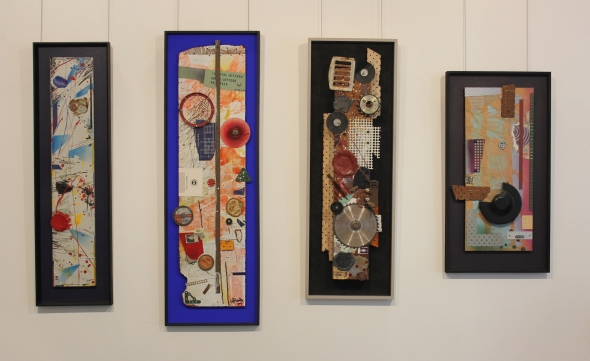 Four collage/assemblages