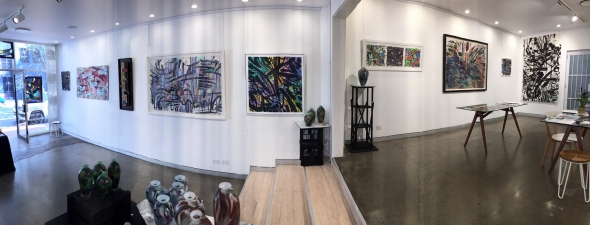 Panoramic view of the exhibition, left-hand wall