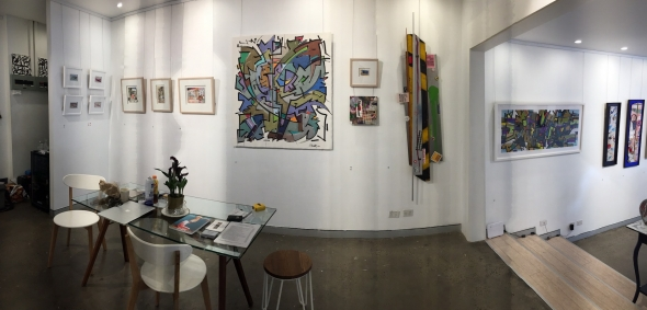 Panoramic view of the exhibition, right-hand wall
