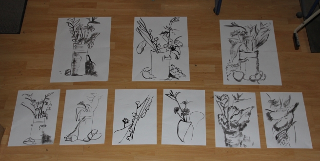 Series of quick sketches of the Still Life