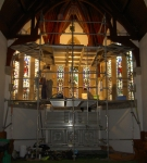 Scaffolding over altar